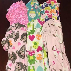 Baby girl footie jammies bundle